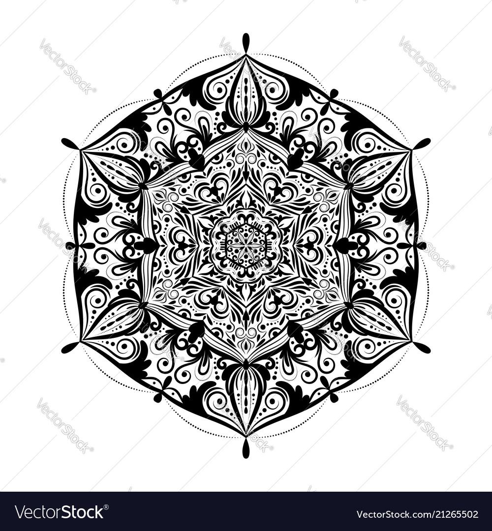 Monochrome mandala doodle element in boho style