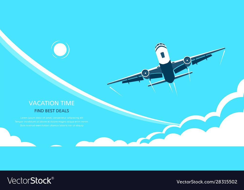 Online flight booking banner design flat style