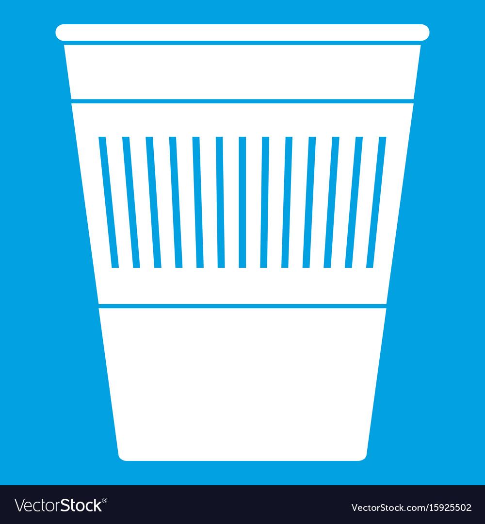 Plastic office waste bin icon white