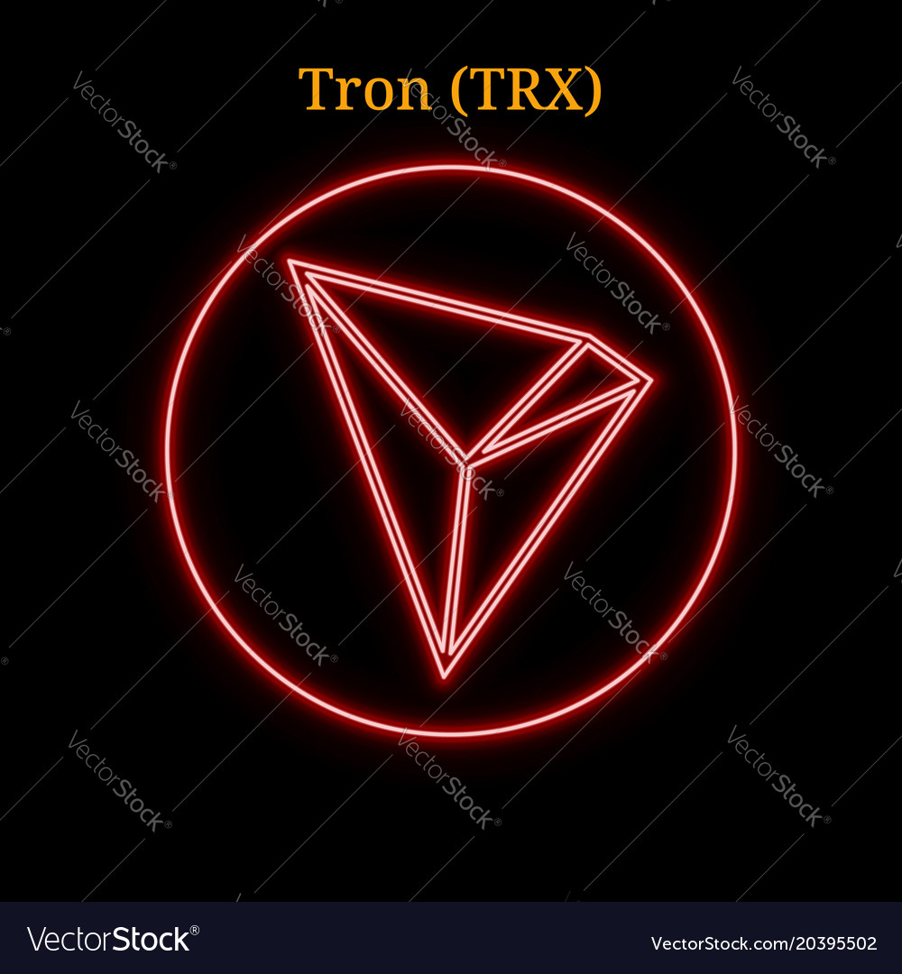 Red neon tron trx cryptocurrency symbol