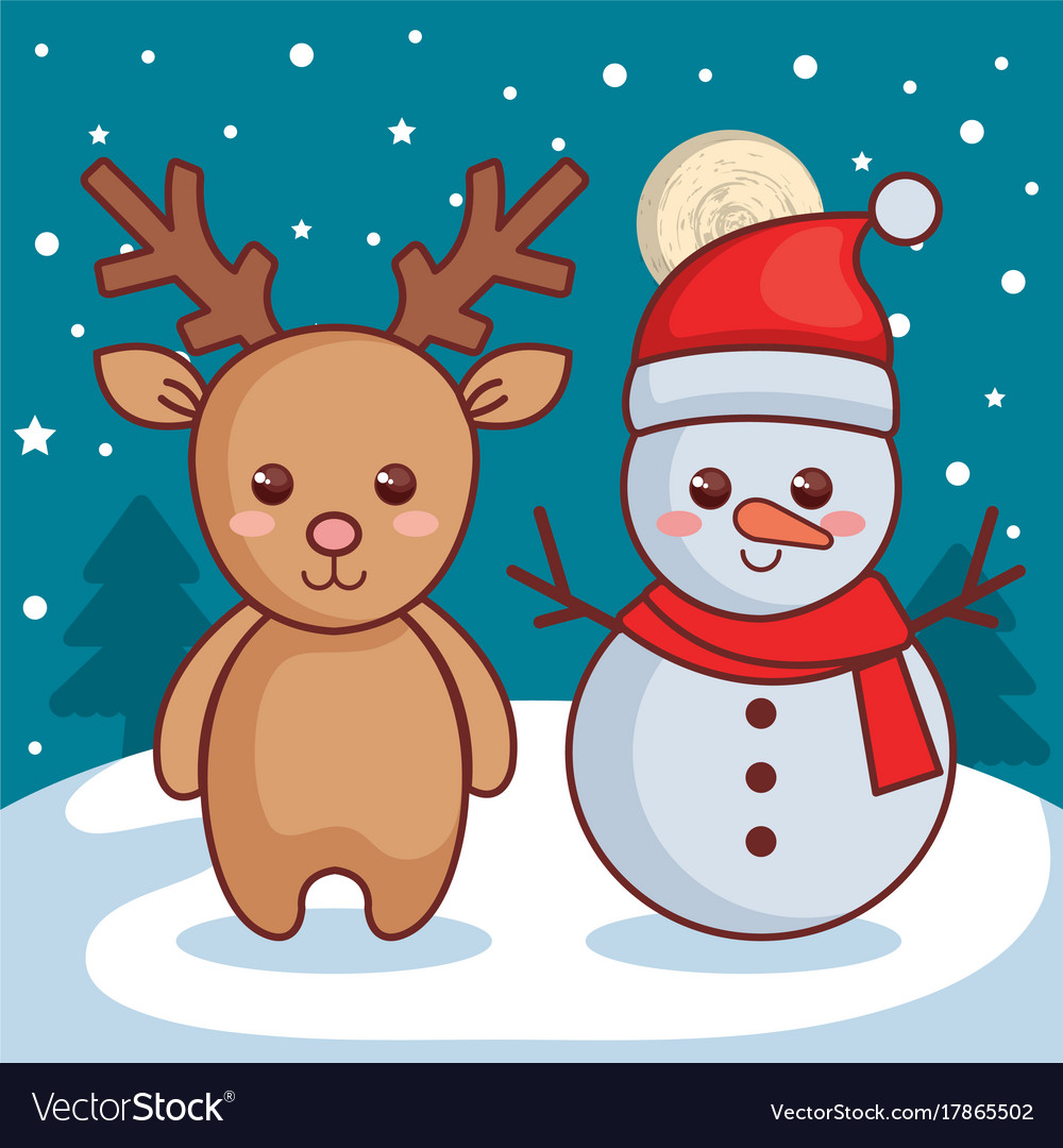 reindeer with snowman christmas characters icon vector image - Snowman Christmas