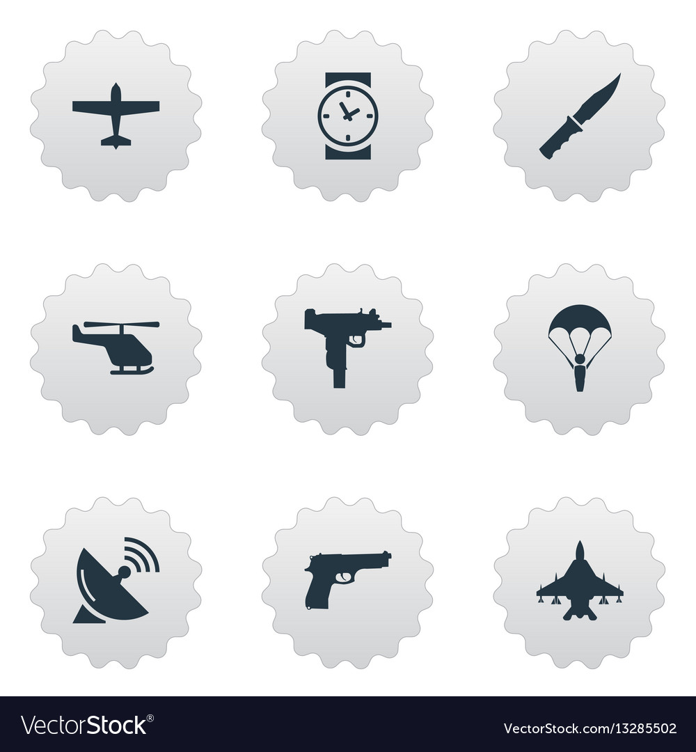 Set of 9 simple army icons can be found such