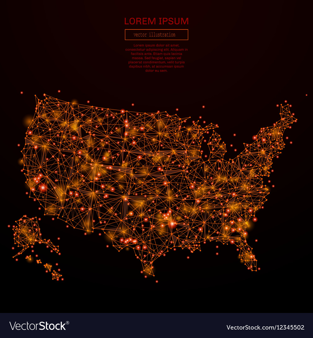 USA map low poly red fire