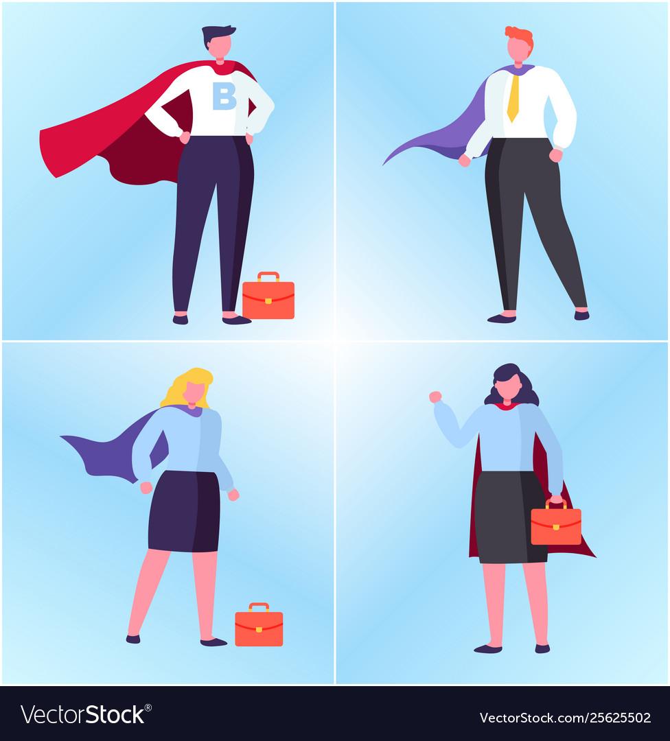 Winner or superhero man and woman worker