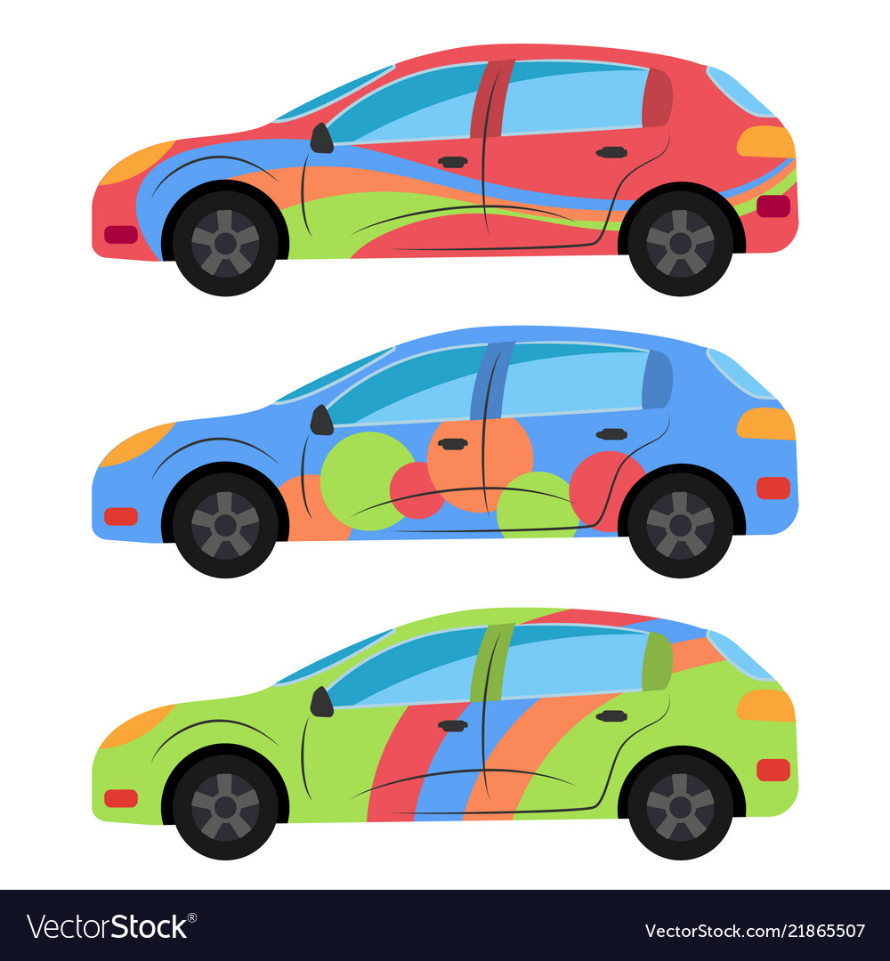 A set of three cars painted in different colors