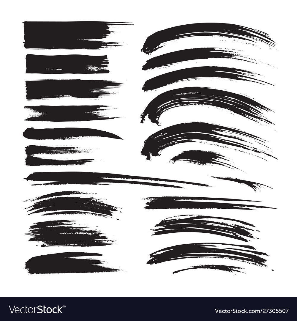 Brush strokes ink black painting - creative set d
