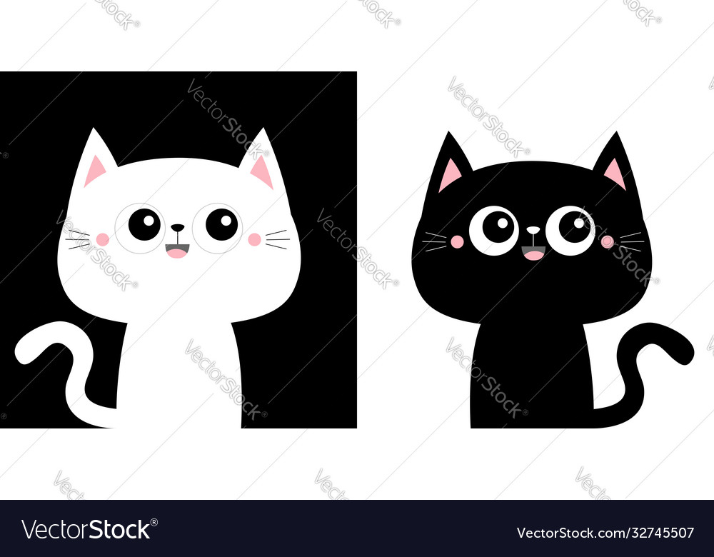 Cute black cat kitty kitten icon set kawaii