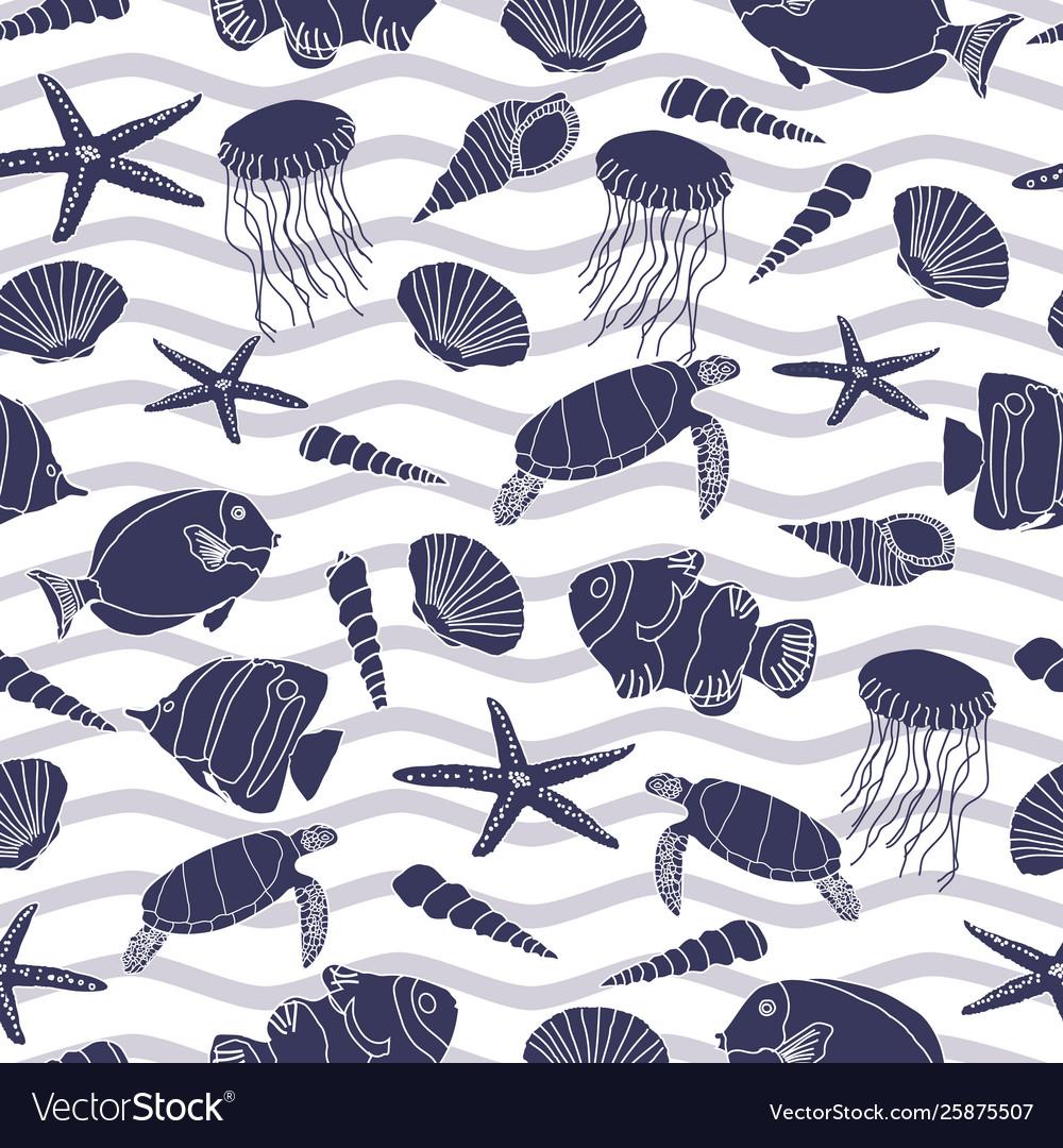 Cute hand drawn sea life seamless pattern