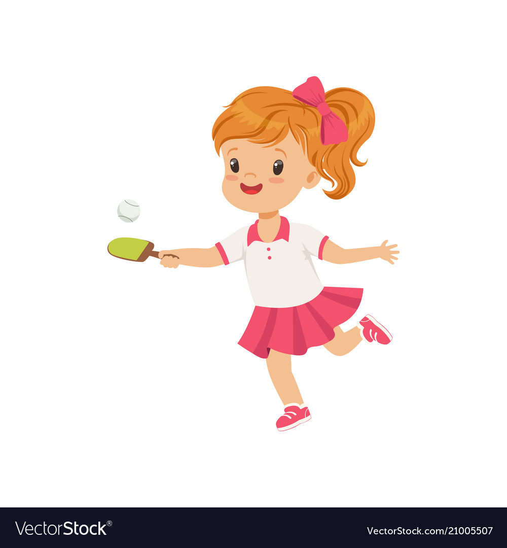 Cute little girl playing table tennis kids