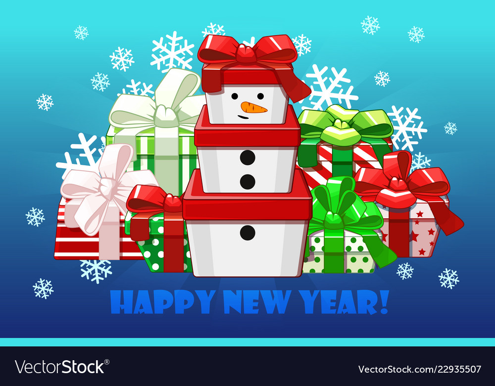 Cute merry christmas different gifts gift snowman