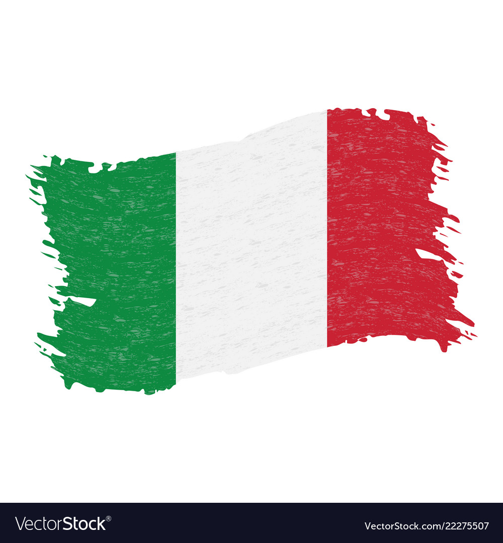 Flag of italy grunge abstract brush stroke