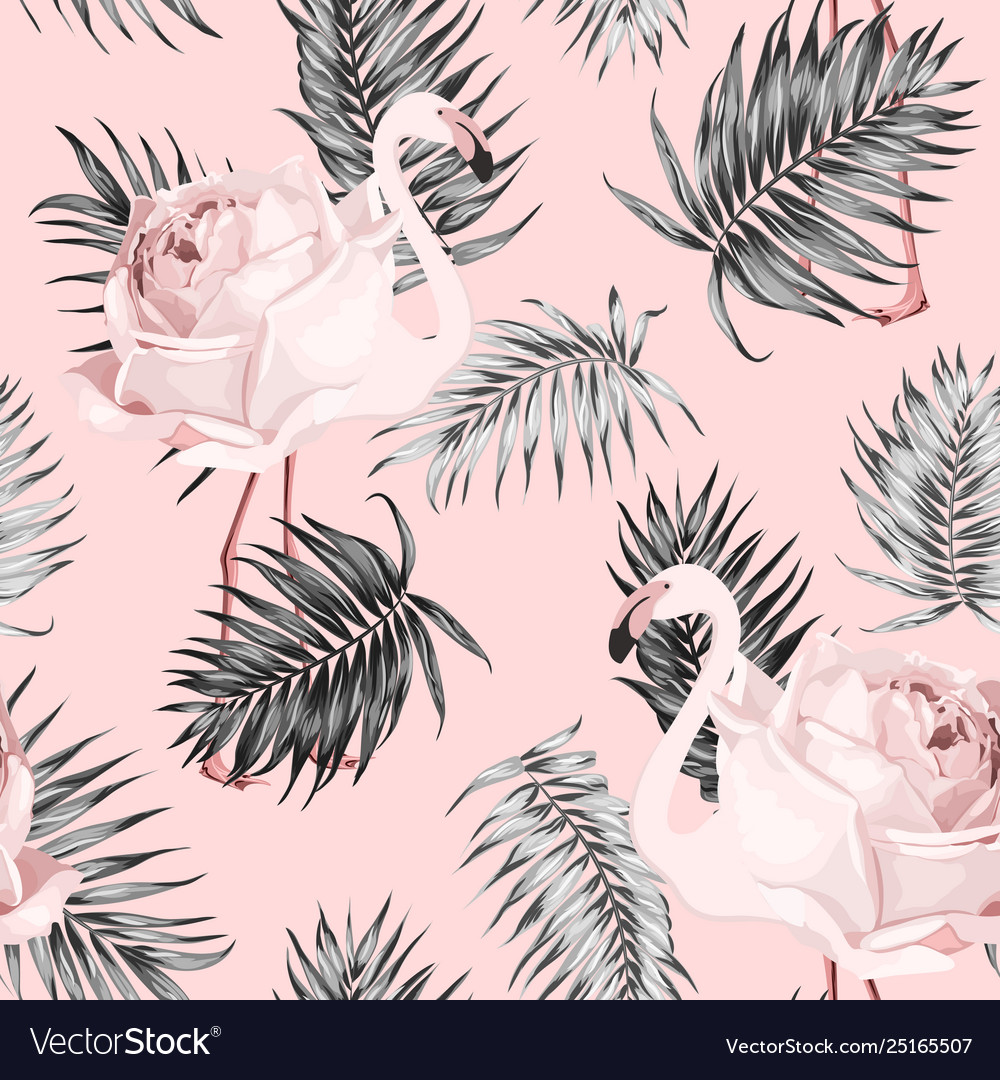 Flamingo rose tropical pattern