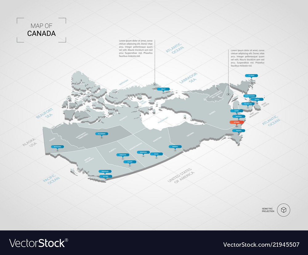 City Map Of Canada.Isometric Canada Map With City Names And