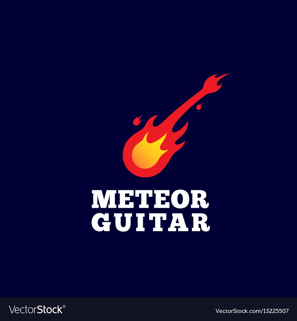 Meteor guitar abstract sign emblem or logo