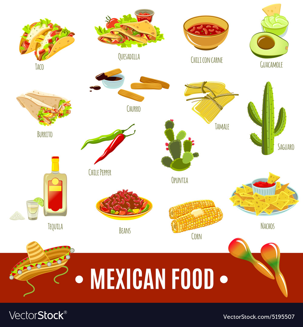 mexican food icon set royalty free vector image