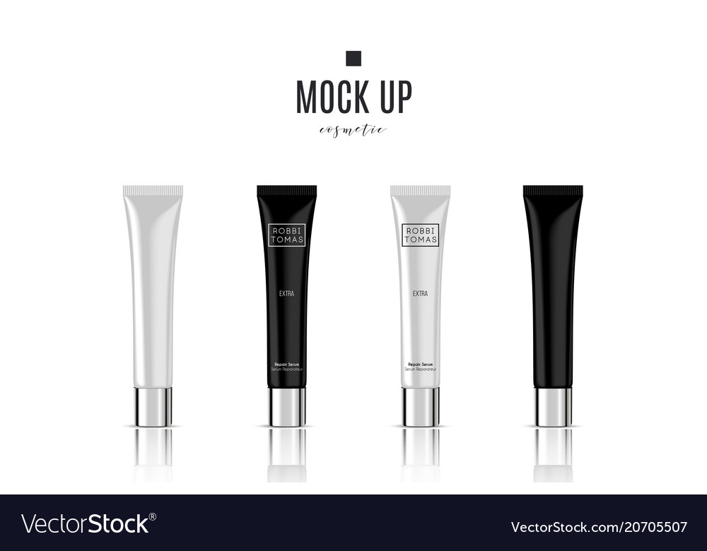 Realistic white cosmetic cream container and tube vector image