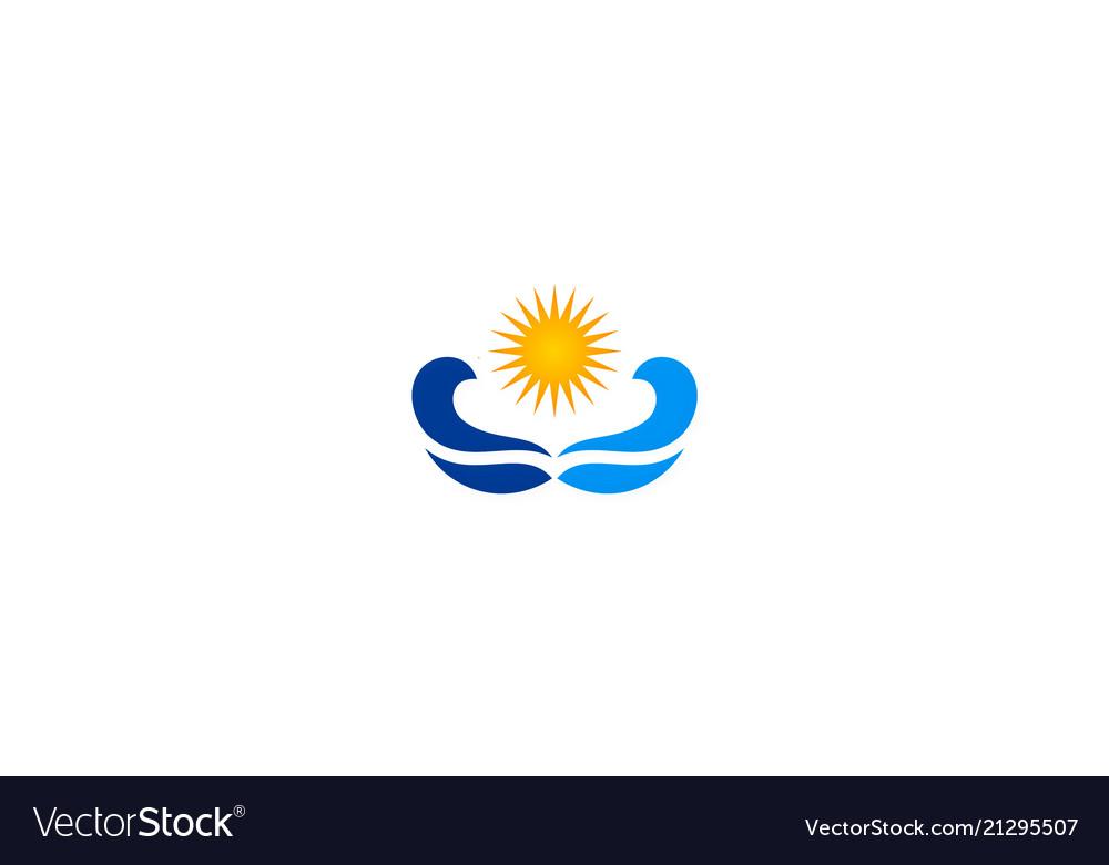 Sun shine ocean wave logo