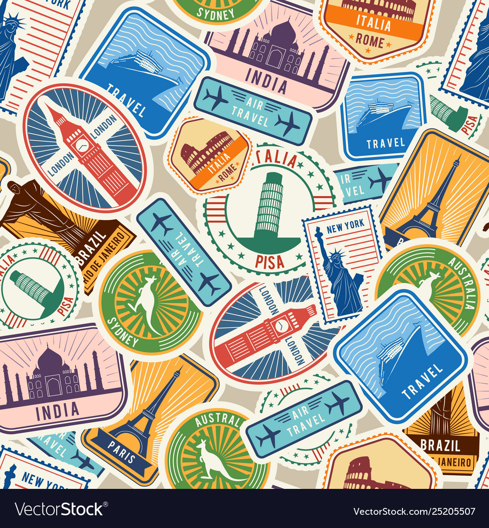 Travel pattern immigration stamps stickers with