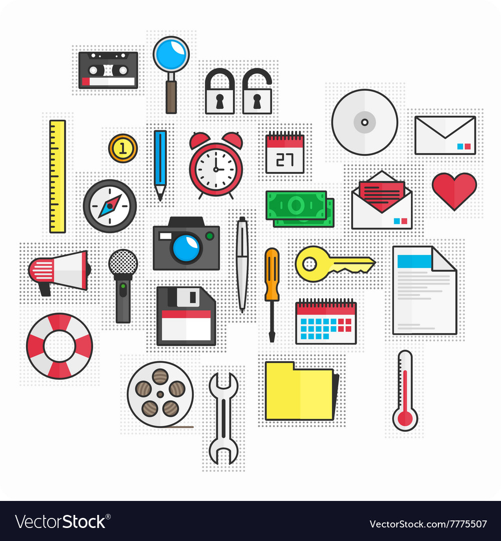 Universal set of colored icons vector image