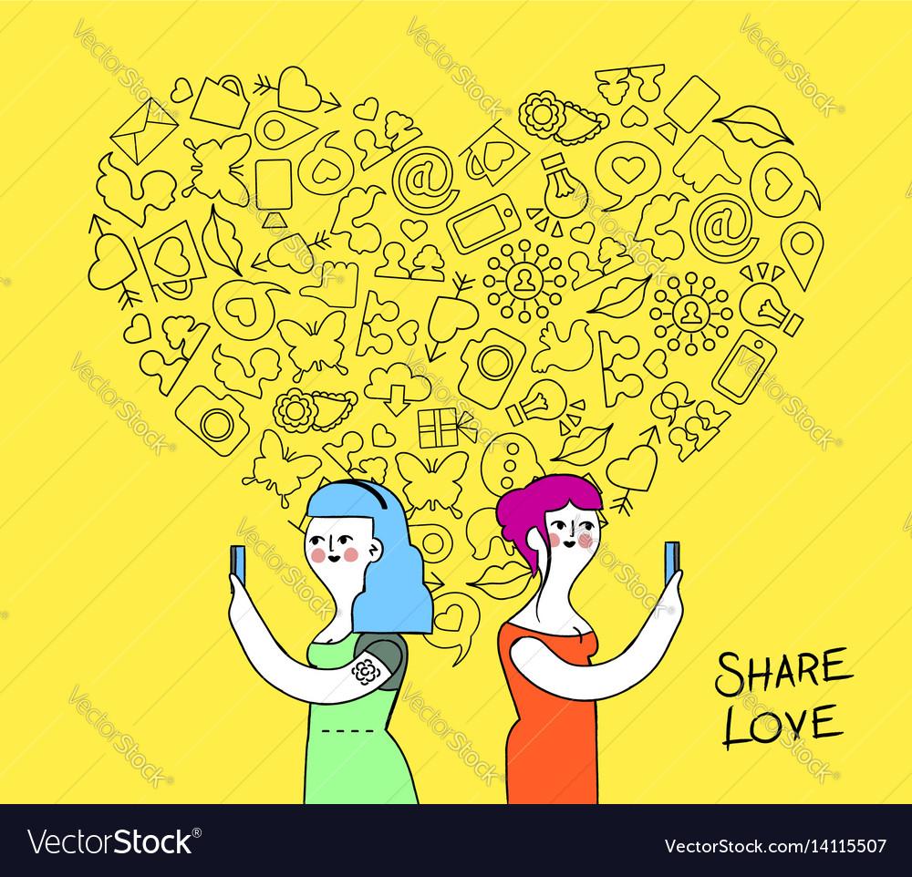 Women couple internet love concept