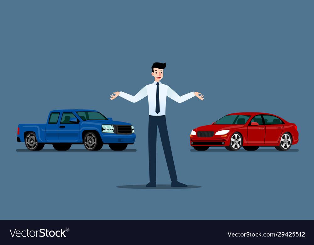 A happy businessman salesman is standing