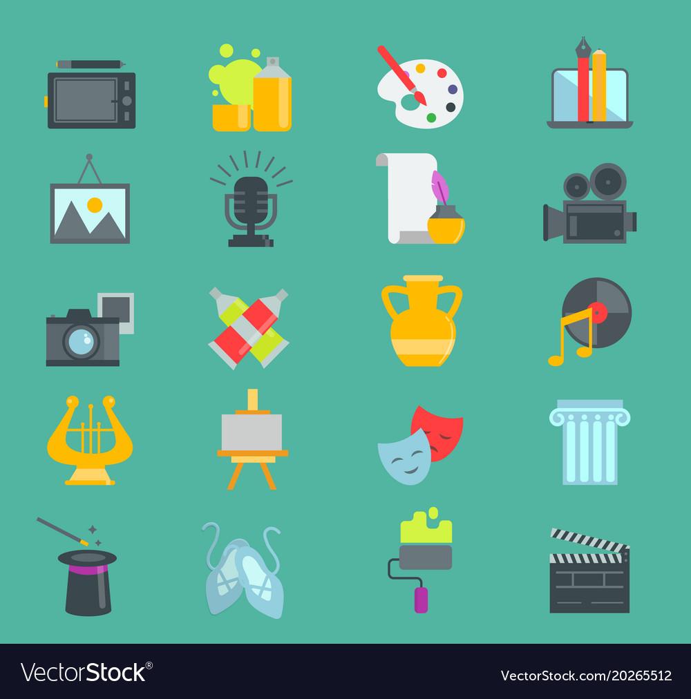 Artistic creator graphic designer icons set vector image