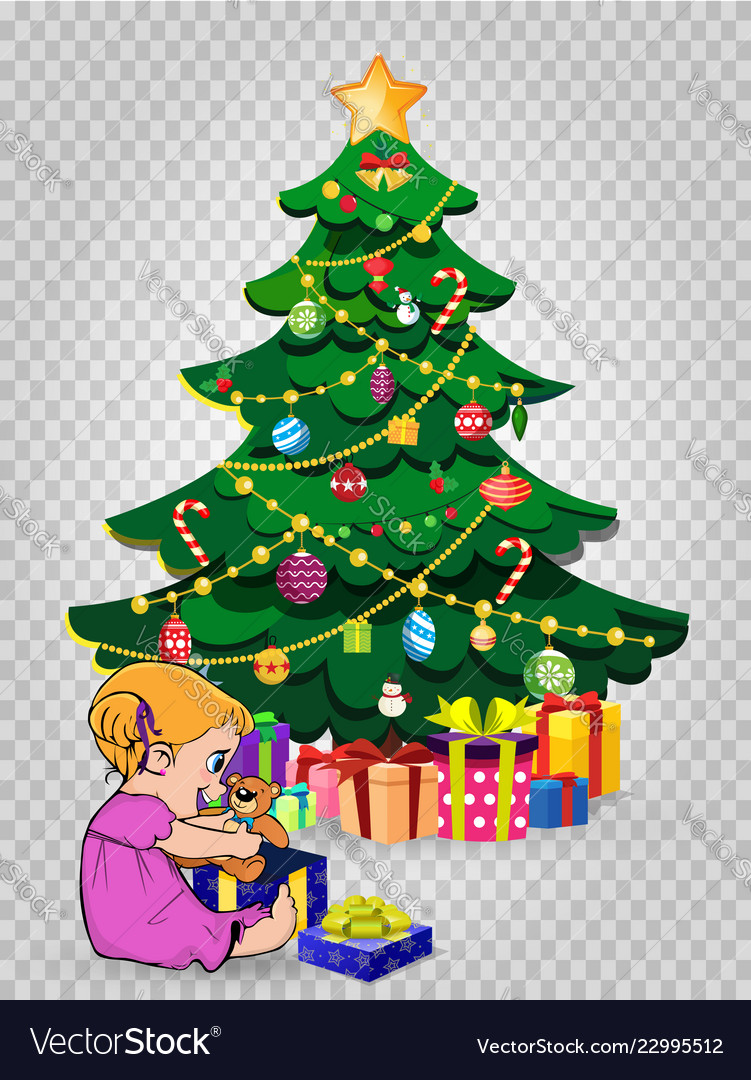 Baby girl open gift near decorated christmas fir