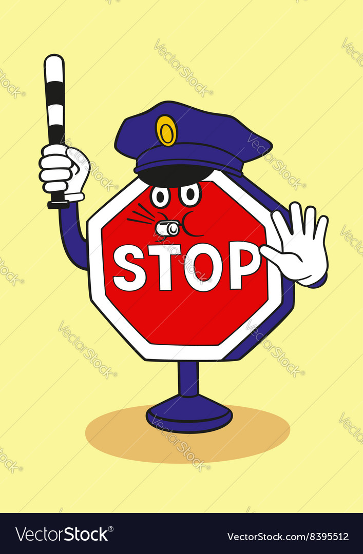 cartoon stop sign as a police officer royalty free vector rh vectorstock com stop sign cartoon image stop sign cartoon picture