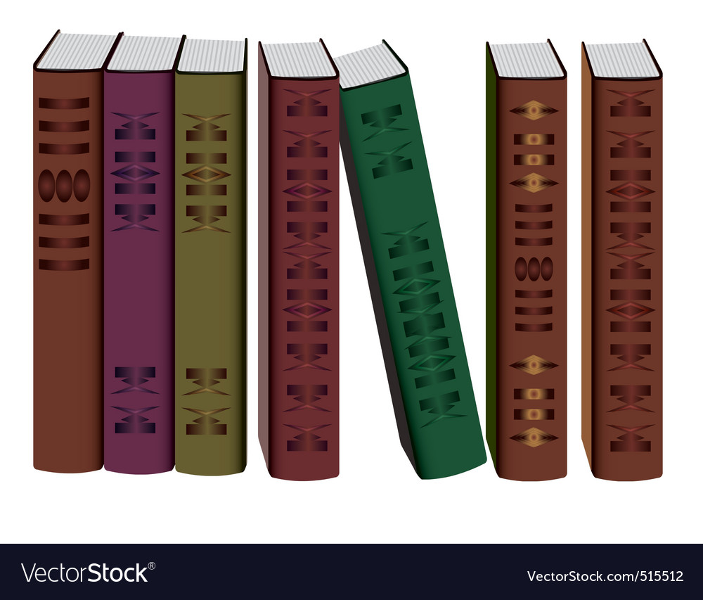 Collection of books on white background