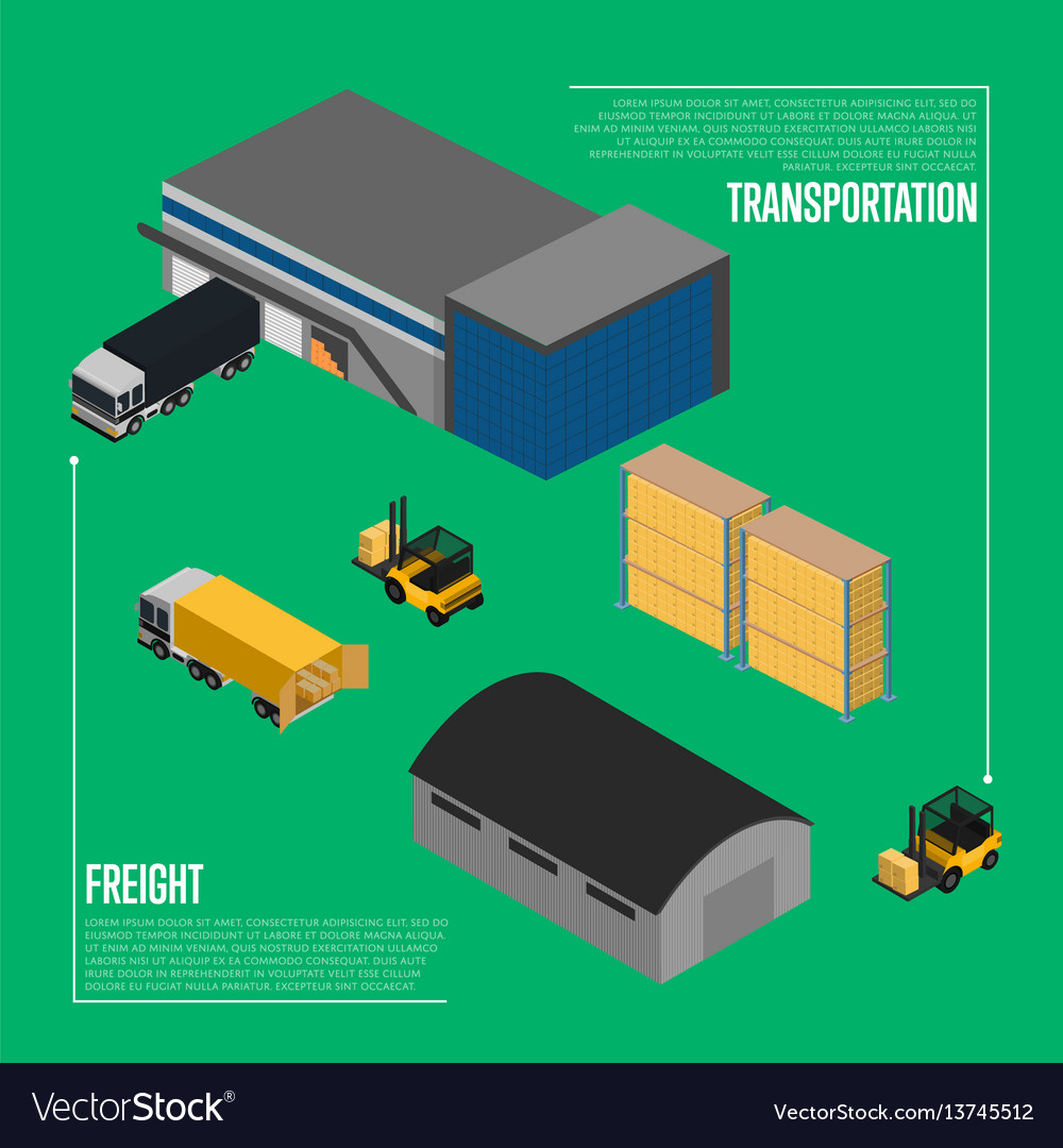 Freight transportation isometric concept