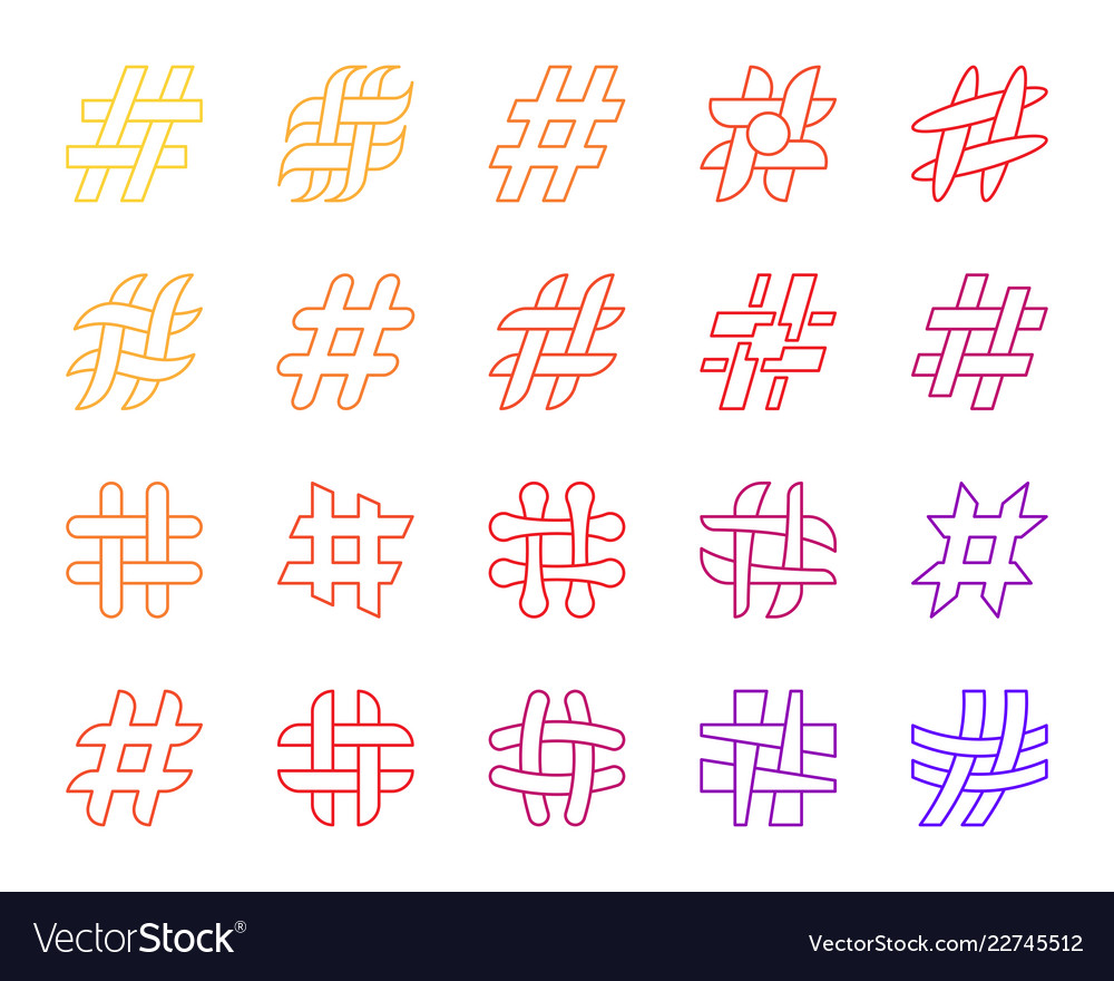 Hashtag simple social media line icons set