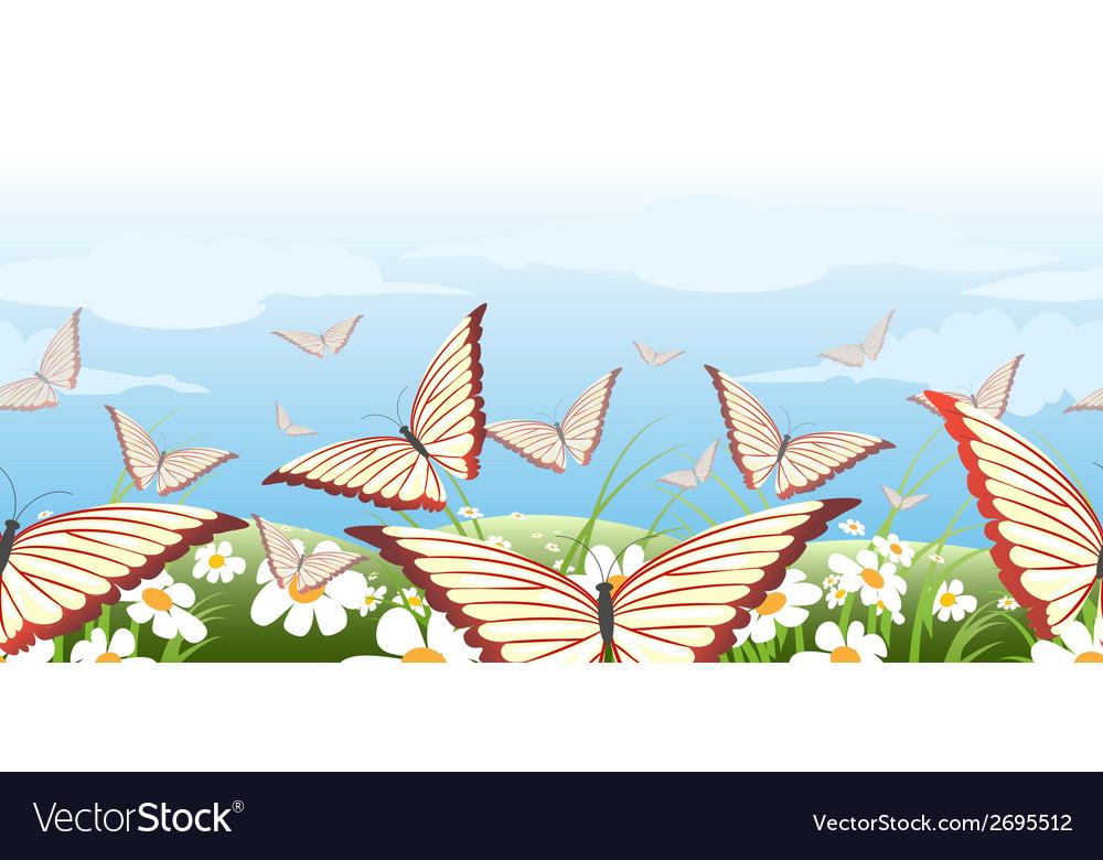 Horizontal seamless butterflies pattern