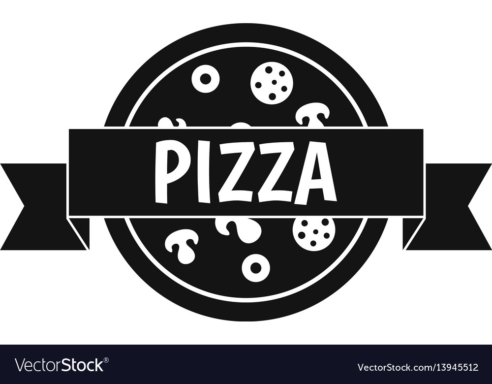 Pizza label with ribbon icon simple style