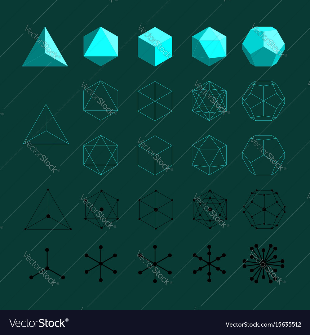 Platonic solids Royalty Free Vector Image - VectorStock Images Of Solids