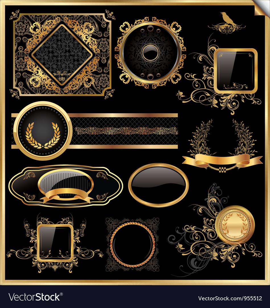 Set of black gold - framed labels