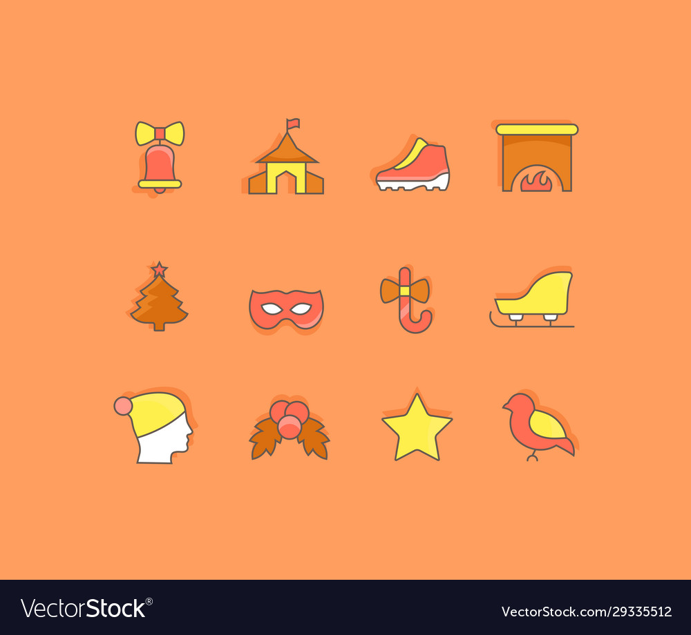Set simple line icons winter