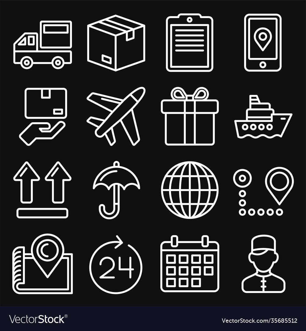 Shipping and delivery icons set on black