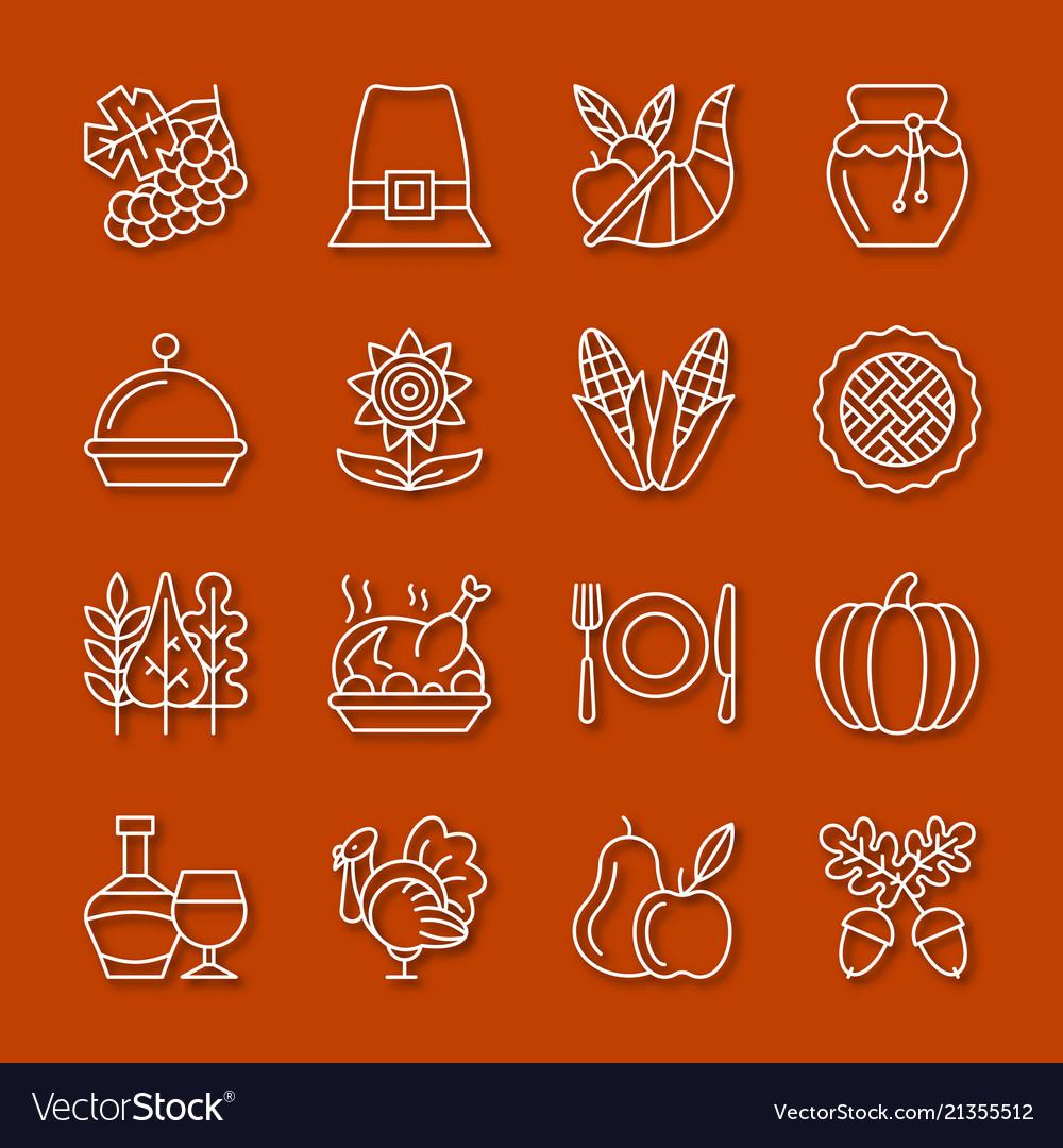 Thanksgiving day thin line icon set