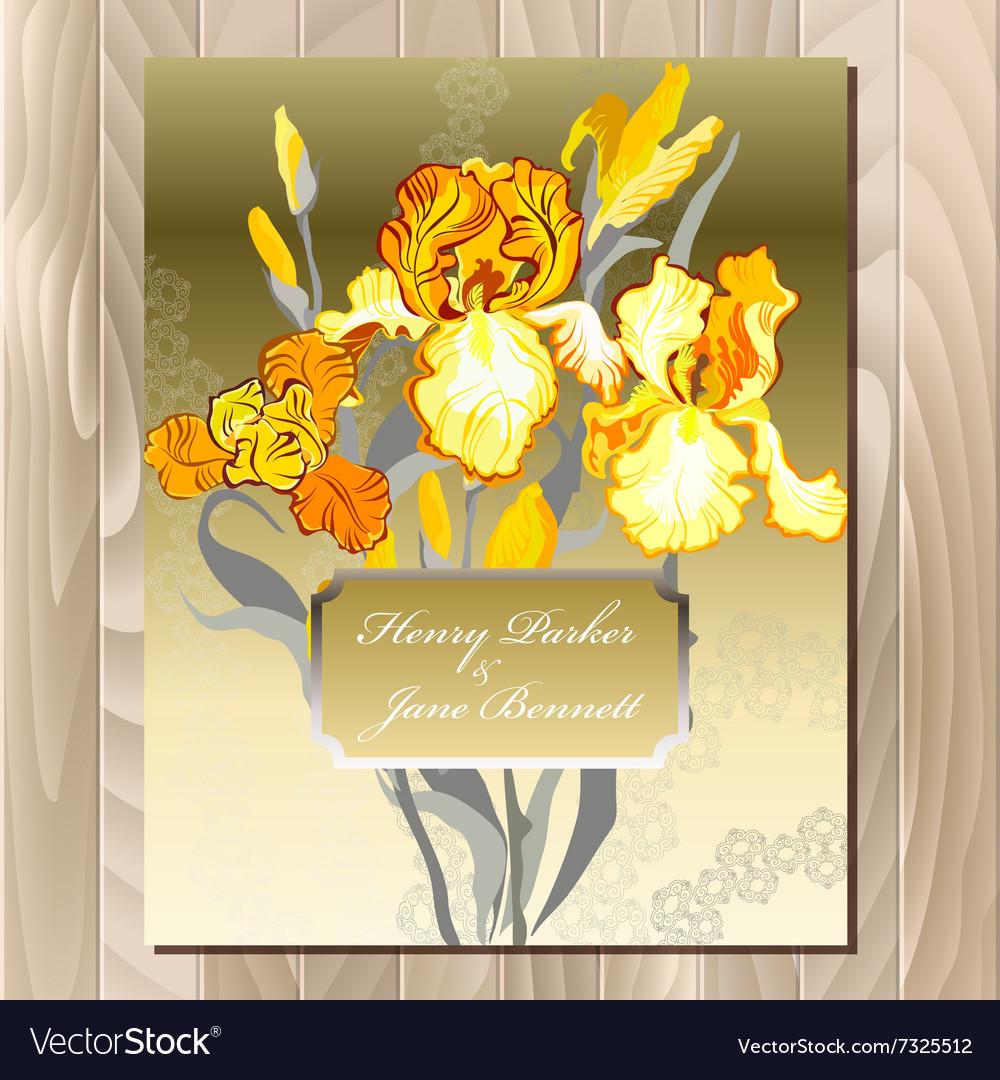 Wedding card with yellow iris flower bouquet vector image izmirmasajfo