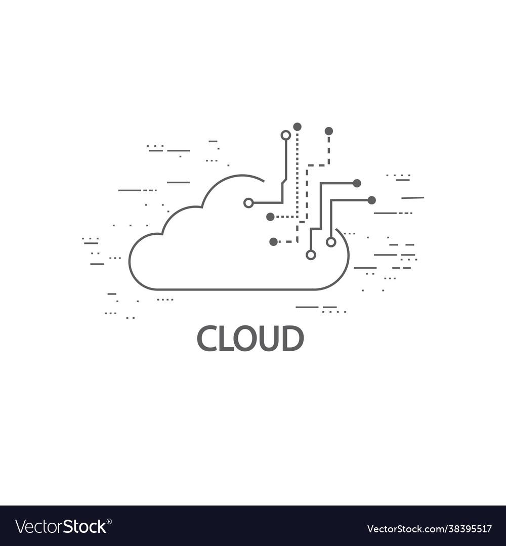 Cloud computing thin flat design