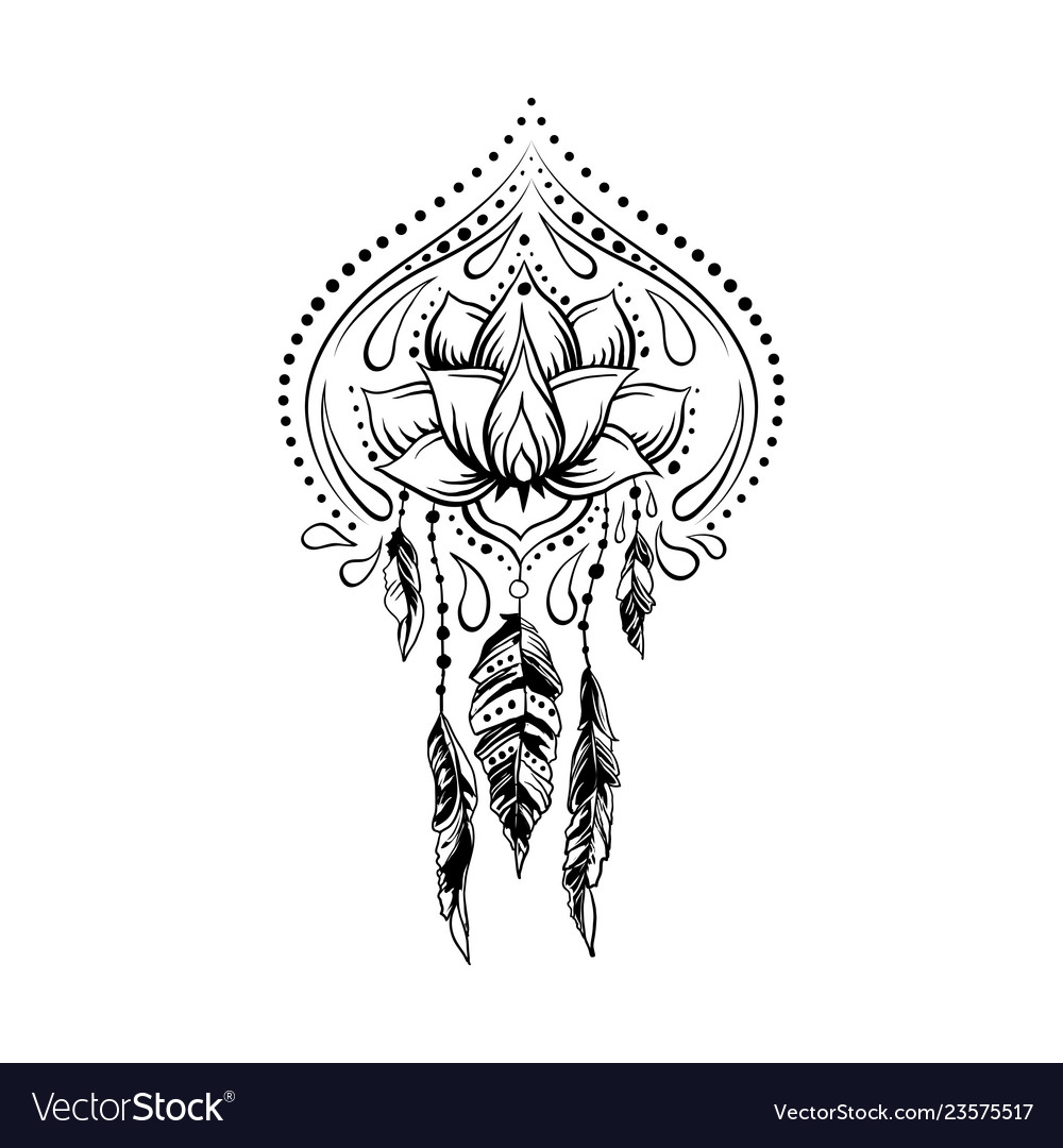 Doodle style hand drawn ornamental lotus