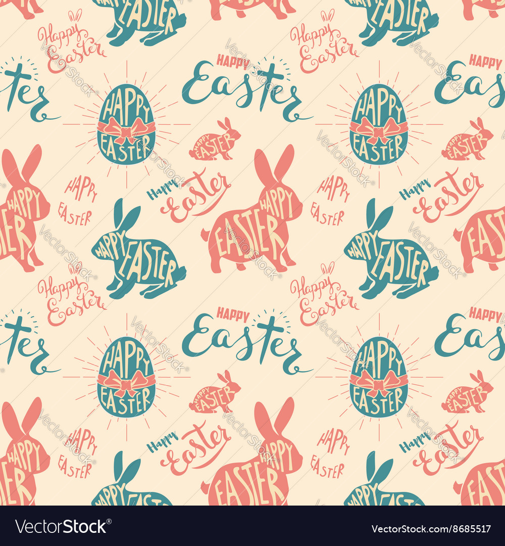 Easter egg with lettering seamless pattern