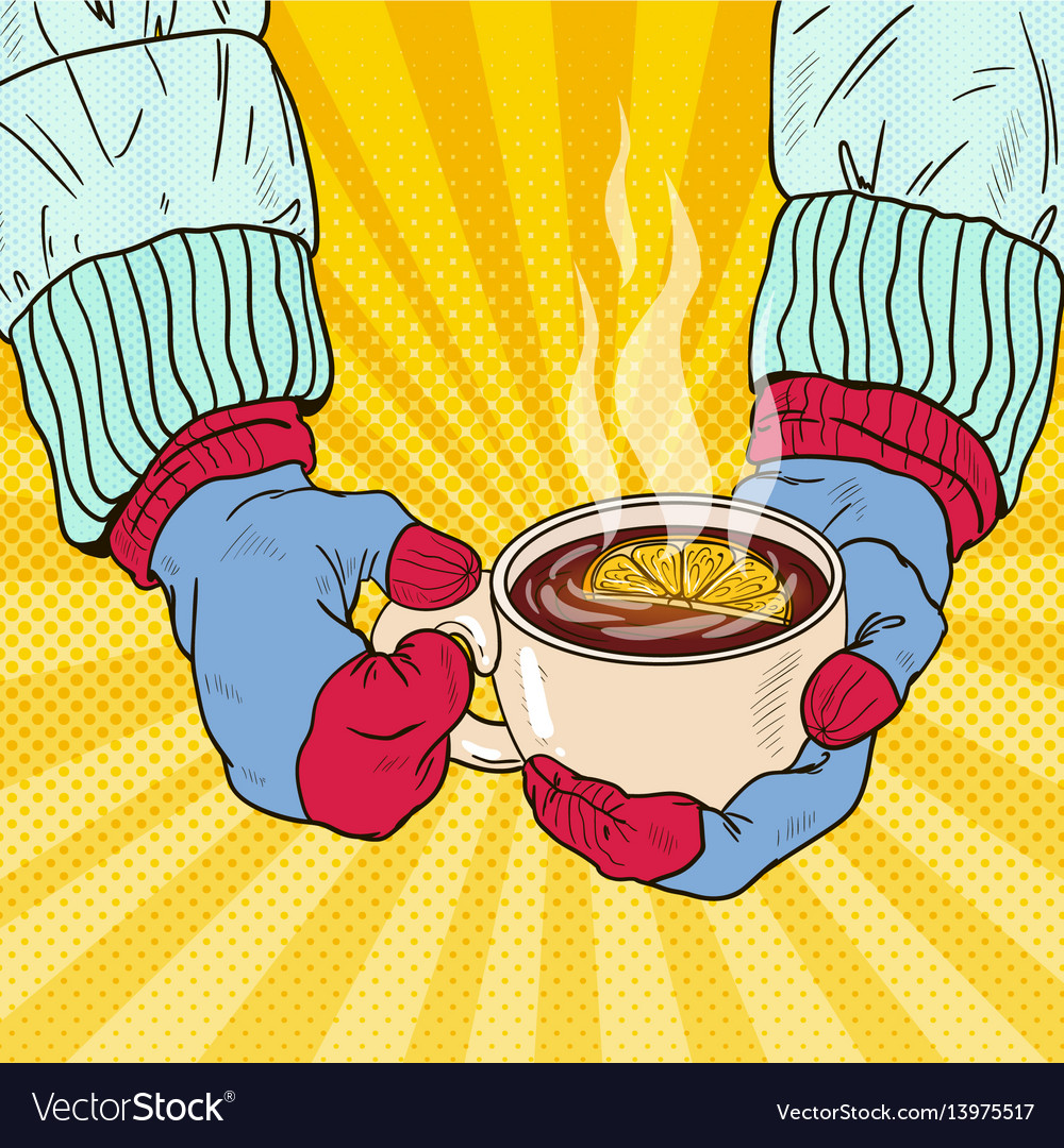 Hands in mittens holding cup with hot tea