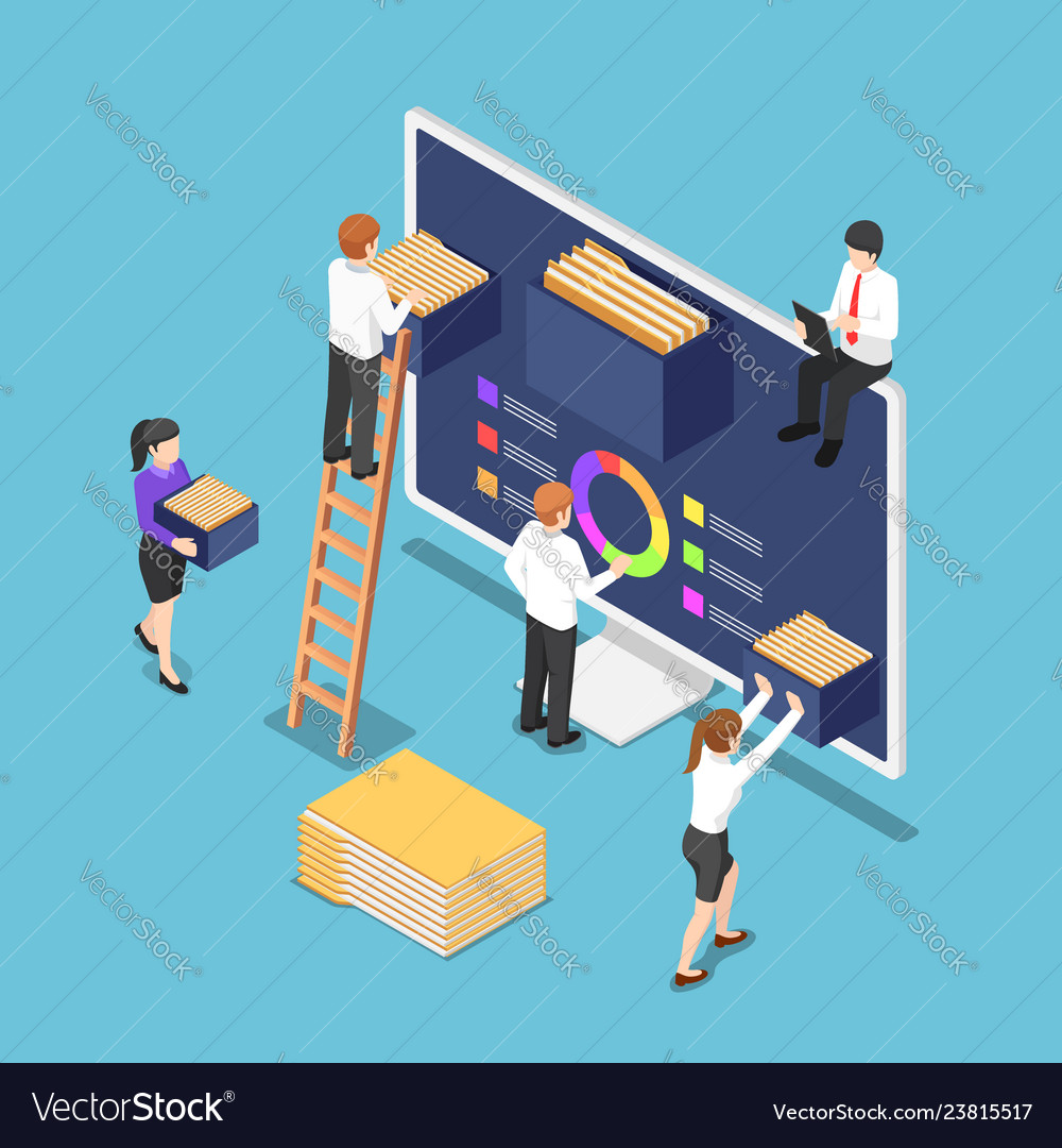 Isometric business people are organize document