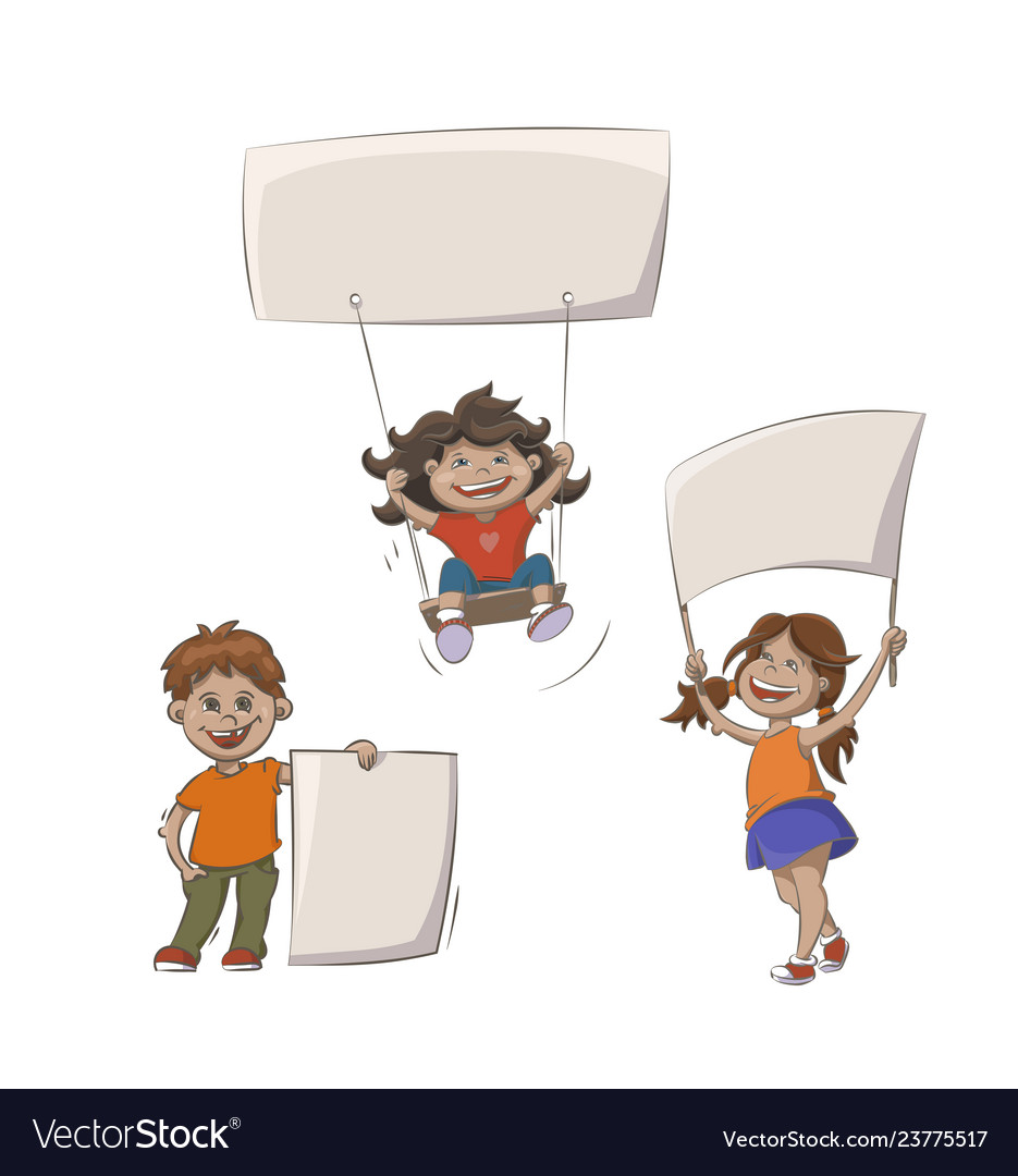 Kids with advertising banners