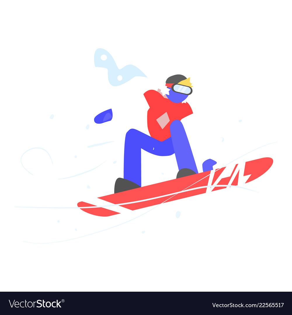 Man snowboarding winter