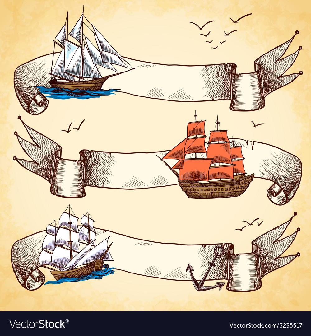 Nautical banners set set vector image