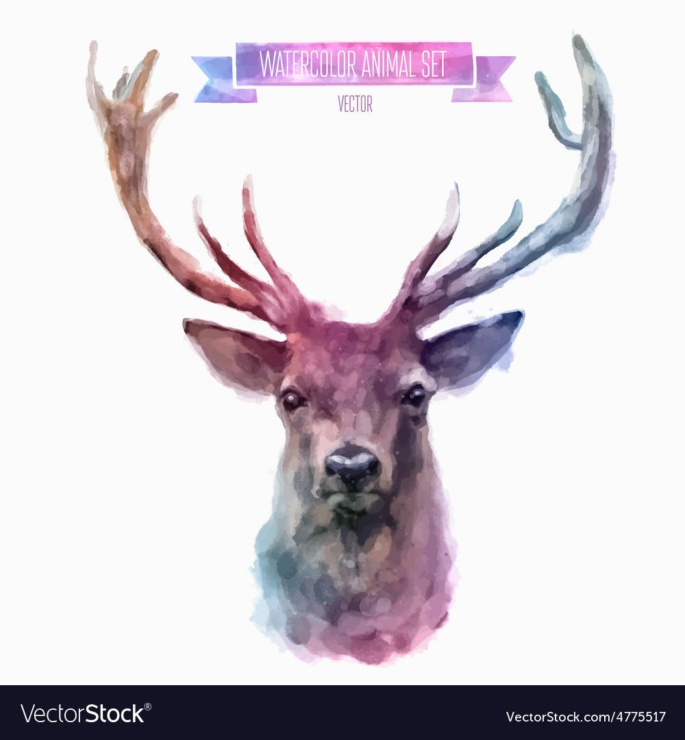 Set watercolor cute deer