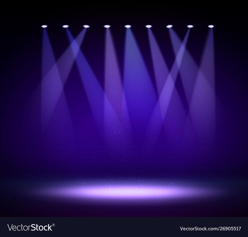 Various Stage Lights In Dark Spotlight