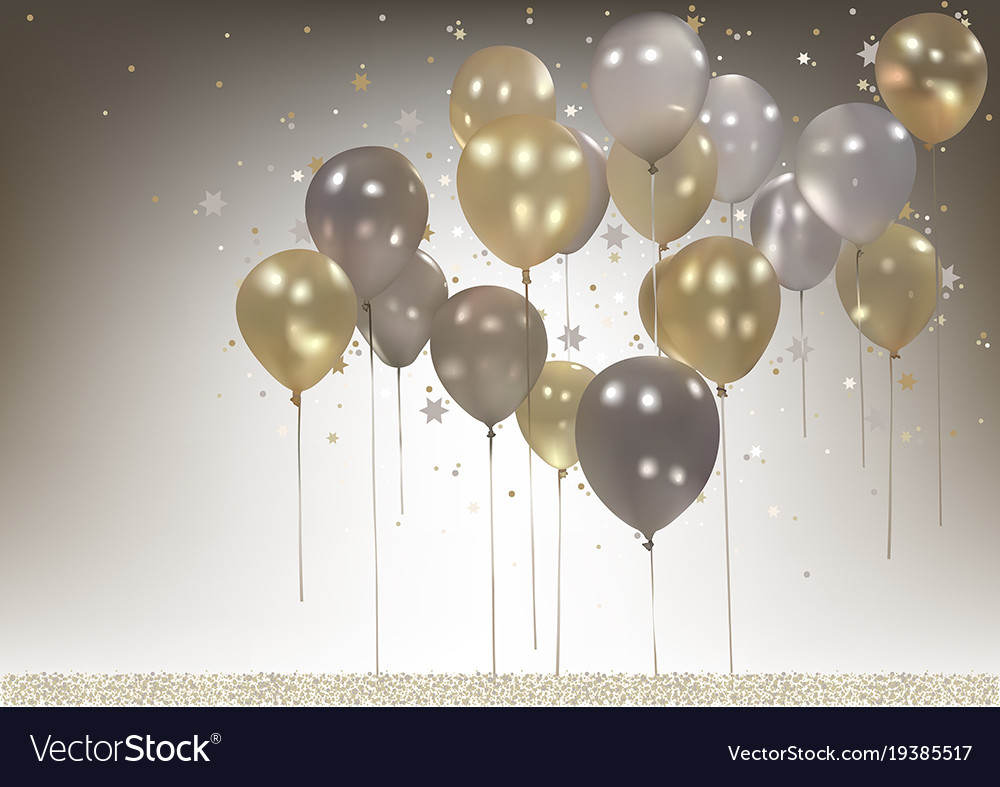 white and gold party balloons background vector image